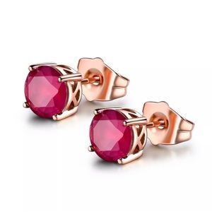 Beautiful Ruby Red Rose Gold Studs!